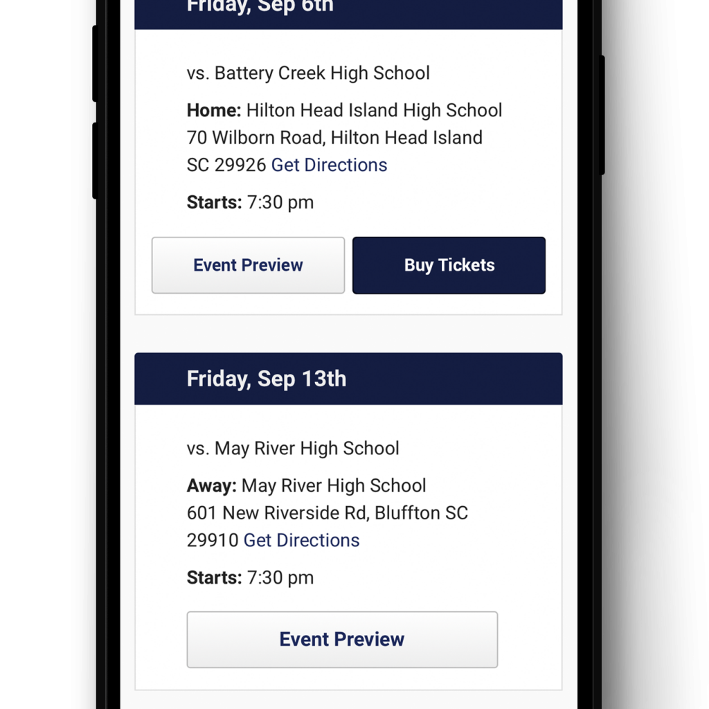 Mobile view of Hometown Ticketing's integration with VNN. Buy Tickets button on school schedule page