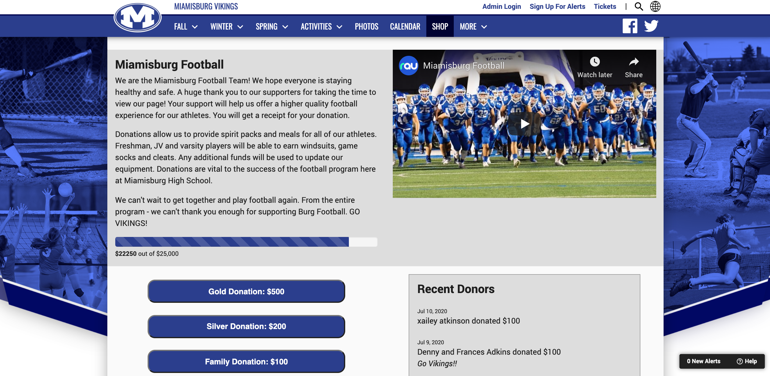Miamisburg Varsity Football Fundraising Page with $22,000 raised for the football team from donors