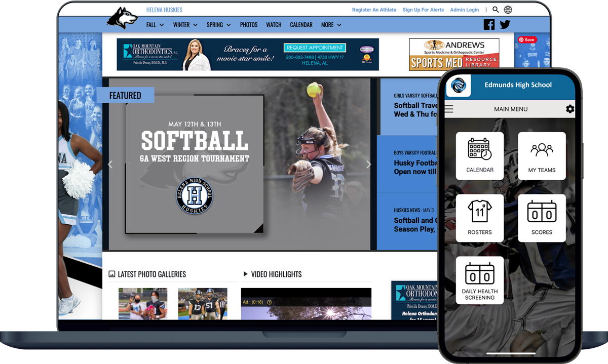 Image of Helena High School's VNN website and the rSchoolToday Mobile App side by side